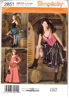 Show Saloon Girl Bar Maid Western Simplicity Sewing Pattern 2851 Uncut 14-20 FF #Simplicity2851 #saloongirlbarmaidcostume