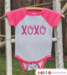 Girls Valentines Outfit - XOXO Valentine's Day Shirt or Onepiece - Kids Pink Raglan Valentine's Shirt - Cute Baby Girl Valentines Day Outfit