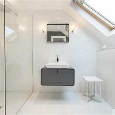 Browse thousands of interior and exterior images from Farrow & Ball. Be inspired with stunning home decor images and design ideas for your home. Loft Bathroom, Bedroom Loft, Bathroom Ideas, Victorian Terrace Interior, Victorian Homes, Loft Conversion Master Suite, Luxury Hotel Bathroom, Attic Rooms, Farrow Ball