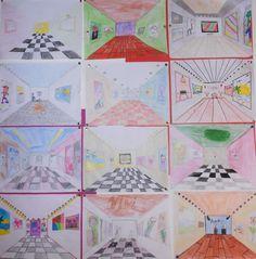 perspectief in een museum (naar idee van tekenenenzo) groep 8