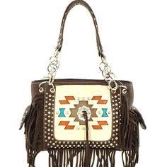 Aztec Concealed Carry Fringe Handbag