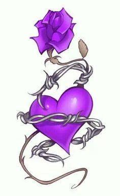 Make it red instead of purple and I'd get this rn Purple Love, All Things Purple, Purple Rain, Shades Of Purple, Purple Flowers, Purple Rose Tattoos, Flower Tattoos, Fallen Angel Tattoo, Gothic Tattoo