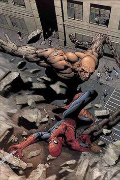 Absorbing Man vs Spider-Man by Steve McNiven