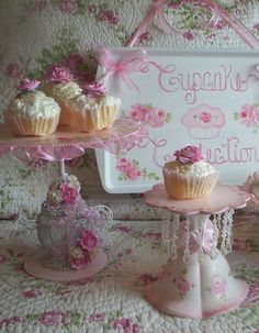Cupcake Holders with Romantic Shabby Chic Hand Painted Roses / http://handpaintedroses.blogspot.ca