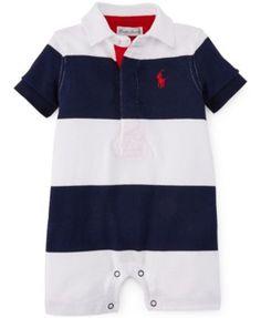 Ralph Lauren Baby Boys  Bold Striped Polo Shortall Kids - All Baby - Macy s b66170cf519