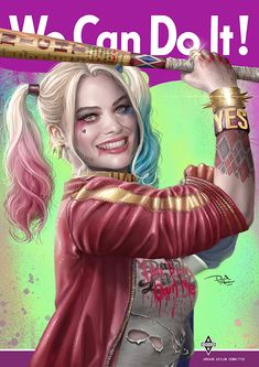 Margot Robbie as Harley Quinn. Made in Photoshop CS6 with a Wacom Bamboo Pen.
