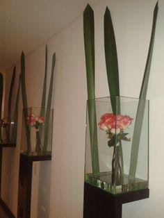 floreros con base en madera