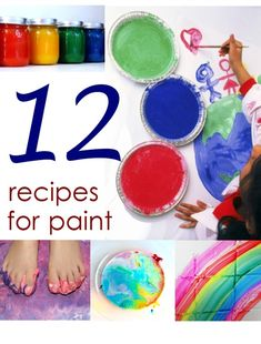 "DIY 12 Paint Recipes -Make your own paint using common household items with the help of these recipes~ **Egg paint, Fizzing sidewalk paint, Bathtub paint, Chalkboard paint, Shaving cream paint, Freezer ""pop"" paint, puffy paint, Color-changing Milk-paint (great science project), Simple finger paint recipe, Paint made from sweetened condensed milk (Edible)"