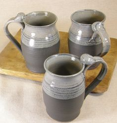 Stoneware Ceramic Pottery Mugs -reminds me of old monestary type mugs simple and utilitarian-