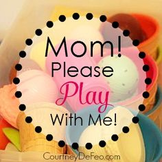 Mom Please Play With Me! Great ideas for those days when you've exhausted your regular playtime ideas. Playroom organizing, busy boxes, and so much more covered in this great article. www.courtneydefeo.com