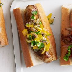 Get ready to relish the tastiness of this dish. Orange, olive and onion add a sweet and unexpected twist to classic grilled sausages. Get the recipe.