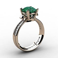 Classic Modern 14K Rose Gold 2.0 Ct Emerald Daimond Solitaire