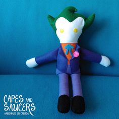 Soft Stuffed Joker Ragdoll  Super Hero Plush by CapesandSaucers, $40.00