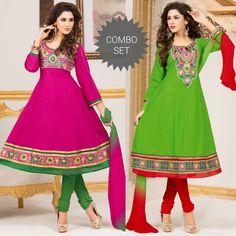 Magenta pink - green anarkali set for Rs.1295