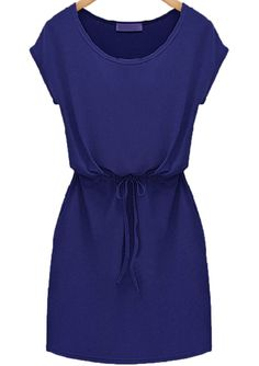 Blue Short Sleeve Drawstring Slim Dress