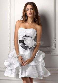 Outdoor Baby Doll Short Length Ruching Lace Up Back Wedding Dress Maggie Sottero