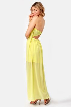7c02fc3344f Column What You Like Strapless Yellow Maxi Dress