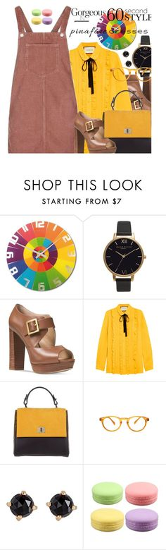 """""""Gorgeous in 60 second style"""" by no-where-girl ❤ liked on Polyvore featuring NeXtime, Olivia Burton, Michael Kors, Gucci, Topshop, BOSS Hugo Boss, ZENTS, Irene Neuwirth, pinafores and 60secondstyle"""