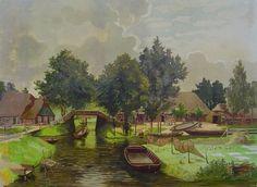 Een gezicht in Giethoorn [met fuiken], 1917, Bueninck