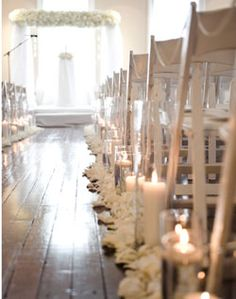 WeddingChannel Galleries: White Rose Petals and Candle Aisle Decor