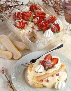 Strawberry and Prosecco Tiramisu.  Tiramisu first appeared in the Veneto region of northern Italy in the 1970's.