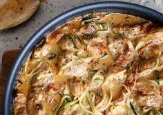 Pármai cukkinis spagetti mediterrán tejszínes mártással
