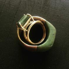 Wedding rings. 9ct gold, Pounamu/ NZ Jade.