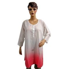 Womens Bollywood Casual Wear Cotton Long Kurta Top Tunic with White & Red Shade Large Size (Apparel)