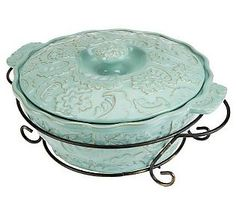 Temp-tations Salisbury 2 qt. Round Covered Baker w/ Wire Rack - Blue