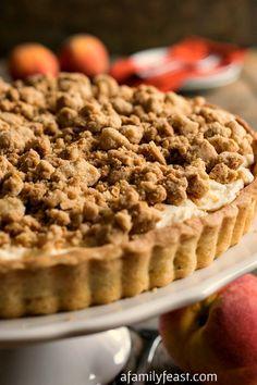 Peaches and Cream Almond Crumb Tart - A Family Feast