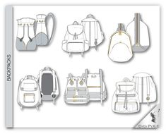 Backpack & Fanny Pack Flats Sketches 12 Illustrator by DigiPixie Industrial Design Sketch, Sketch Design, Bag Design, Tech Pack, Flat Sketches, Sketches Tutorial, Adobe Illustrator, Leather Craft, Poster Prints