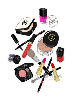 "Chanel Makeup Haul Fashion Illustration Art Print by emmakisstina - More illustrations LINE BOTWIN ""girly illustrations"""