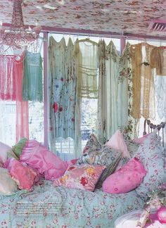 dresses for the window (and don't miss the papered ceiling)