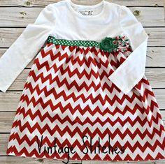 CUSTOM T-Shirt Dress - Holiday Dress - Girl dresses - Toddler Clothing - Chevron Dress - chiffon flower clip on Etsy, $25.00