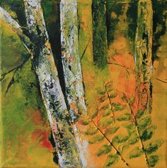 Sommer.Birken. Acryl 20x20 cm