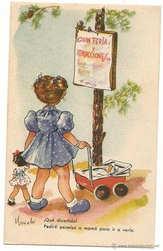 Postal antigua de caricatura. Marielo