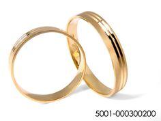 Alianza de boda plana dos gallones, oro amarillo 18K matizada, 4mm