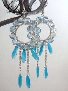 Light blue round glass earrings  silver plated by Laurelisbijoux, $19.90