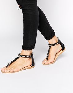 Image 1 of Daisy Street Black Chain Flat Sandals