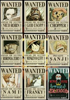"Carteles de ""se busca"" One Piece Bounties, Monkey D Luffy, Nico Robin, Roronoa Zoro, Dragon Ball Z, Anime, Straw Hats, Poster, Wood Burning"