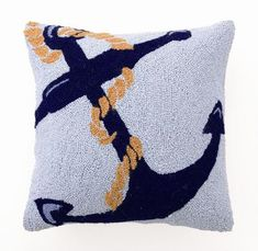 Blue Anchor and Line Hook Pillow