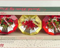 Set of 3 Vintage Jewel Brite Ornaments in Original Box (Inventory #CH1282)