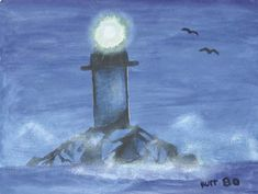 Painting of a lighthouse by Kurt Cobain, dated 1980
