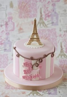 Pink and pearls Eiffel Tower fondant birthday cake for a Paris
