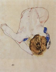 Woman's Back, 1912 by Egon Schiele (pencil and watercolor on paper).