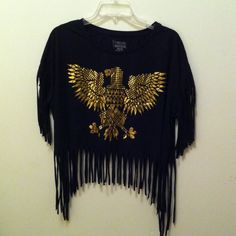 Golden eagle crop top Black tasseled crop to with tribal golden eagle on the front brand new no tags Tops Crop Tops