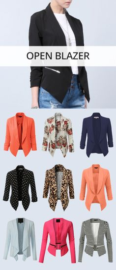 LE3NO Open Blazer Co