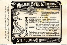 Werbung - Original-Werbung/ Anzeige 1901 - TENNIS RACKETS / WILLIAM SYKES - HORBURY / STEINBERG - HAMBURG - ca. 90 x 60 mm