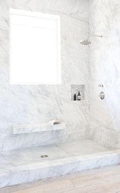 Floor to ceiling Malibu marbled walk in shower Designed by Vanessa Alexander
