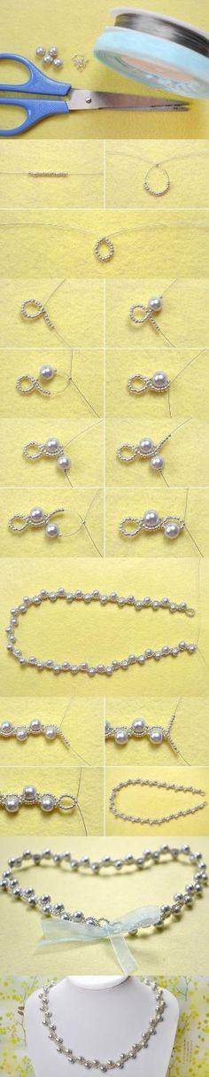 Simple OL Jewelry DIY on How to Make a Silver Gray Pearl Necklace with Ribbon Tie from LC.Pandahall.com | Jewelry Making Tutorials & Tips 2 | Pinterest by Jersica by rosetta